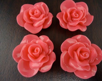 28mm Hot Pink Resin Flower Cabochons (4x)
