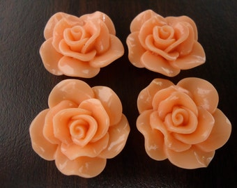 28mm Peach Resin Flower Cabochons (4x)