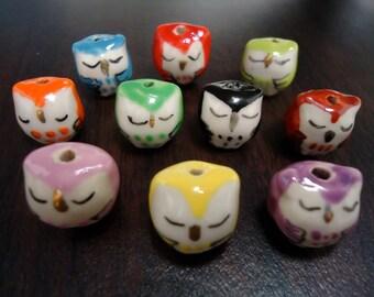 Discount Special  - Owl Porcelain Beads, Halloween - Sleepy Eye (10x)