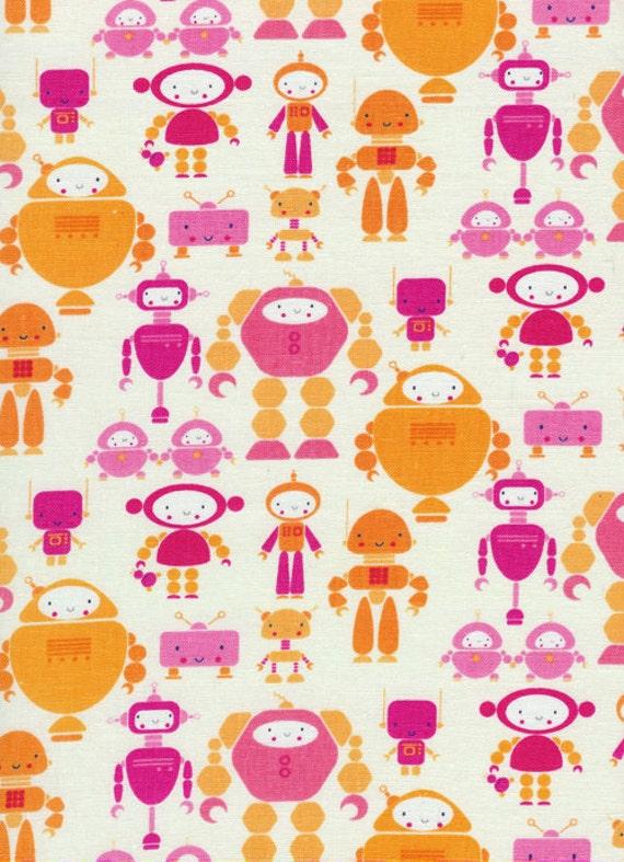Cute Bots in Pink, I HEART by Rashida Coleman-Hale, Timeless Treasures, 1 Yard