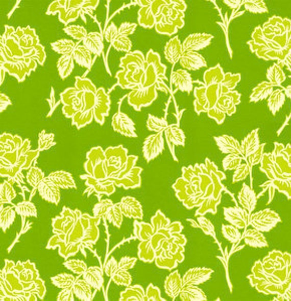 Going Out Of Business Sale Wallpaper Roses in Green, Heather Bailey Pop Garden Fabric, END OF BOLT Sale 1 Yard
