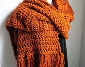 Scarf, Burnt Orange Wrap EXTRA Long and Wide. Custom colors available