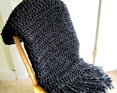 Throw Blanket Crocheted with Fringe-  Black Blanket, Handmade Afghan, Home Decor, Bedroom, Black Interior Palate- Made To Order