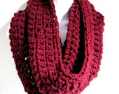 "Infinity Scarf Maroon Red Scarf Cowl- Oxblood Red , Chunky Scarf, Winter Fashion,   ""Buy one get one 50% off lowest price"""
