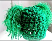 Newborn Hat- Crocheted, Green Hat, with Fuzzy Furry Fringe, Tassels, One of a Kind