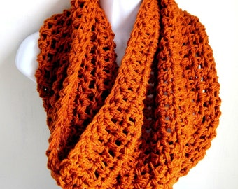 "Infinity Scarf Orange, Pumpkin Spice, Burnt Orange, Fall Fashion Extra Large Chunky Scarf ""Buy one get one 50% off lowest price"""