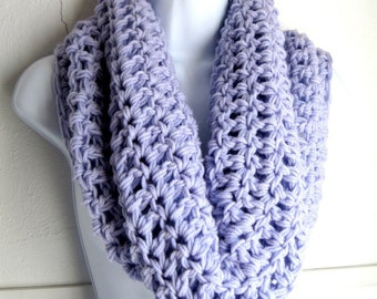 Infinity Scarf Lilac Purple Cowl-  Extra Large Chunky Infinity Scarf, Buy one get second 50% off