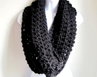 Black Infinity Scarf Cowl-  Extra Large Chunky Infinity Scarf, Eternity Scarf, Black Scarf, Loop Scarf, Crocheted Scarf