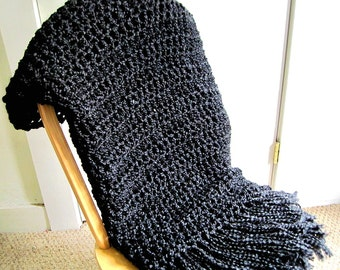 Throw Blanket Crocheted with Fringe-  Black Blanket, Handmade Afghan, Home Decor, Bedroom, Black Interior Palate- Made To Order