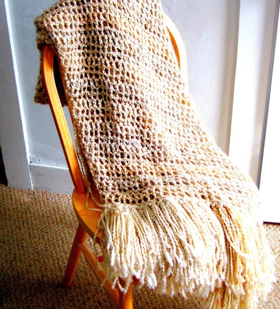 Reserved for Sarah Jo Throw Blanket cream tans and browns,  super  Sofr neutral