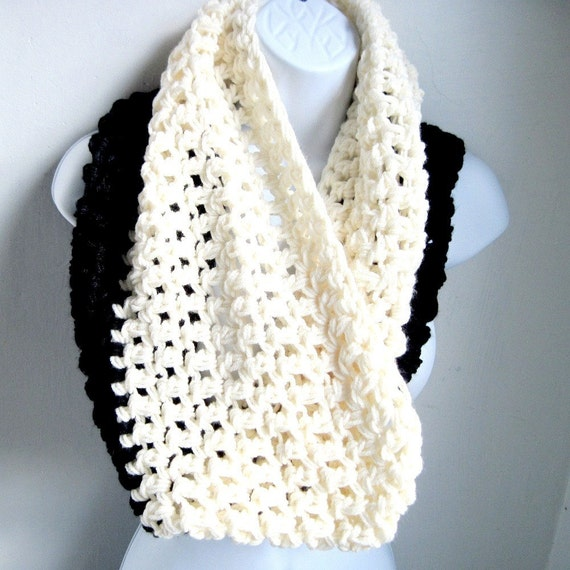 Reserved for Andrea Infinity Scarf Cowl- Black and Cream Extra Large Chunky Scarf BOGO