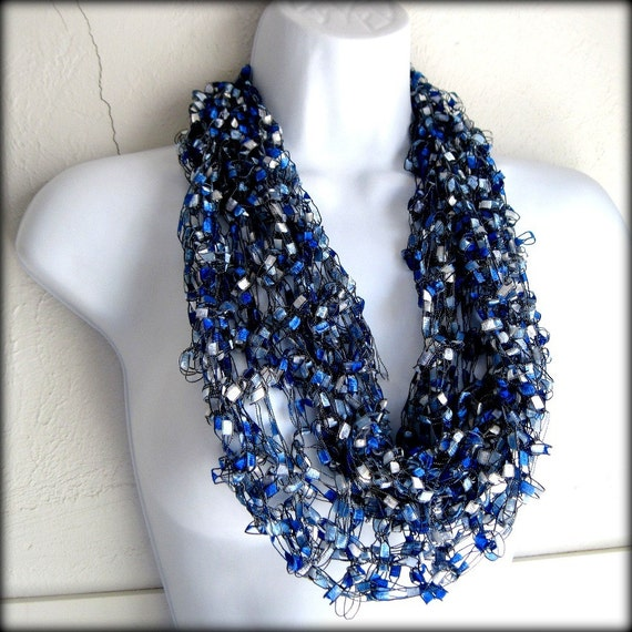 Infinity  Scarf Ribbon blue light weight scarf