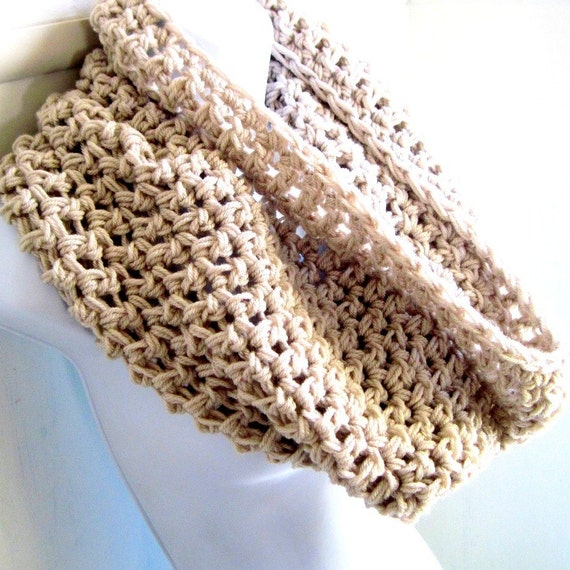 "Infinity Scarf Cowl- Linen Beige Extra Large Chunky Scarf   ""Buy one get one 50% off lowest price"""