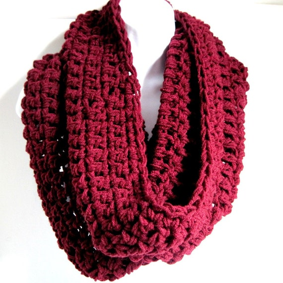 "Resevered for Sam Infinity Scarf Maroon  Red Scarf Cowl-  Extra Large Chunky Scarf   ""Buy one get one 50% off lowest price"""