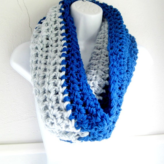 """Infinity Scarf,  Sapphire Blue and Ice Blue Scarf """"Buy one get one half off"""" 2 Toned Blues Scarf"""