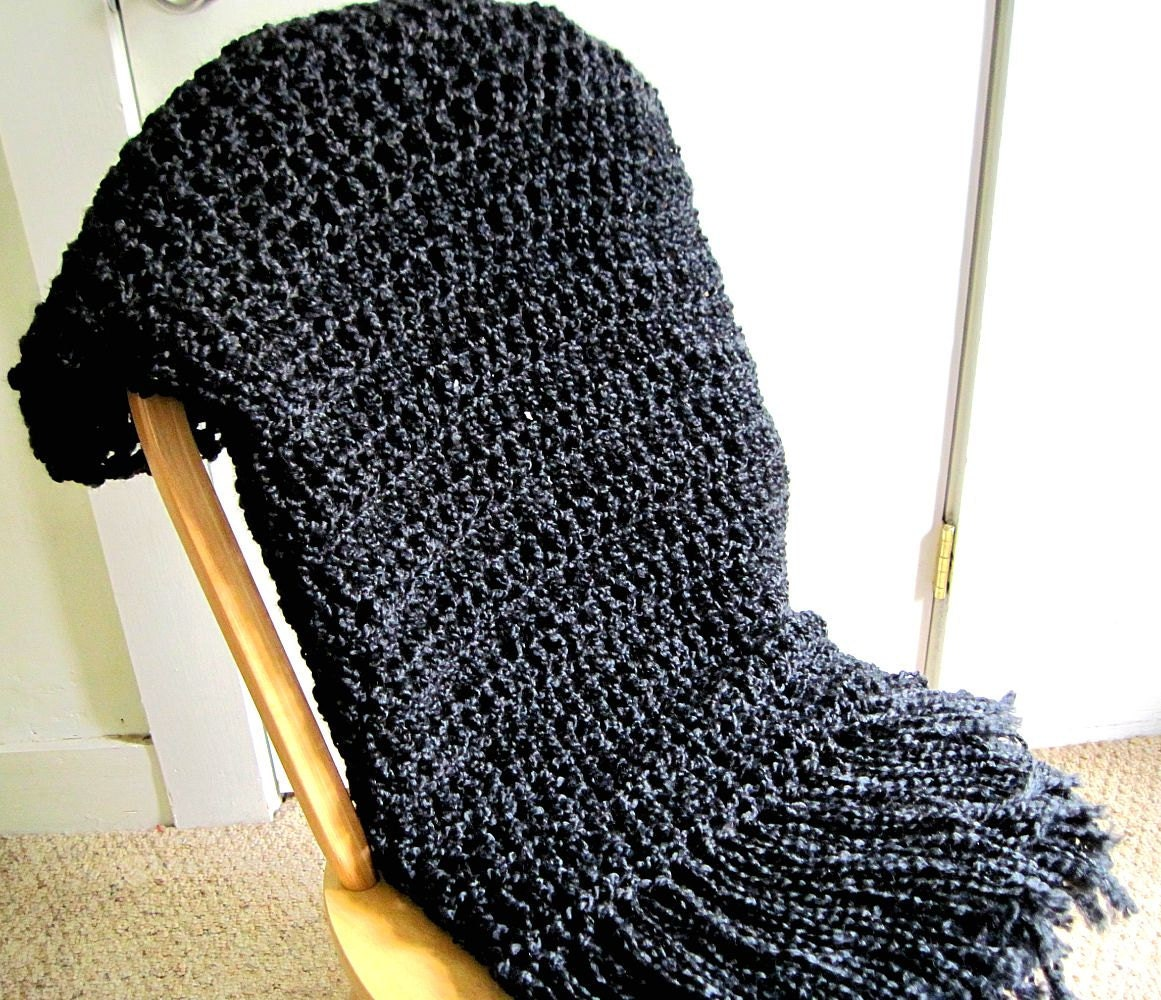 Throw Blanket Crocheted with Fringe Black Blanket Handmade
