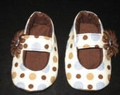 Soft Baby Shoes-Blue and Brown Dots 3-6 mo.