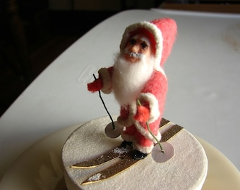 Santa Claus on Skis Christmas Candy Container