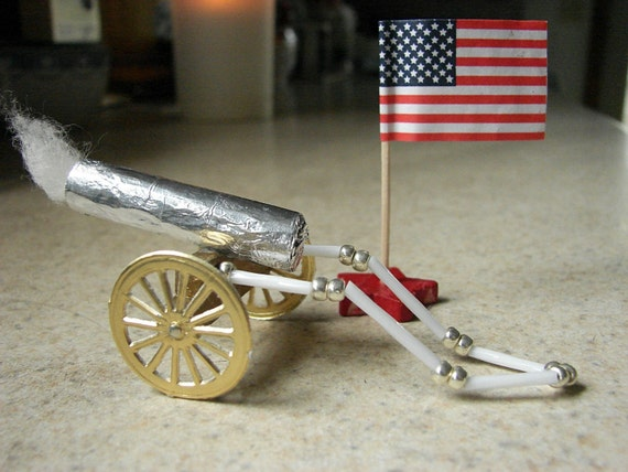 Artillery Cannon Patriotic July 4th Ornament Vintage Inspired RESERVED for spiderchang