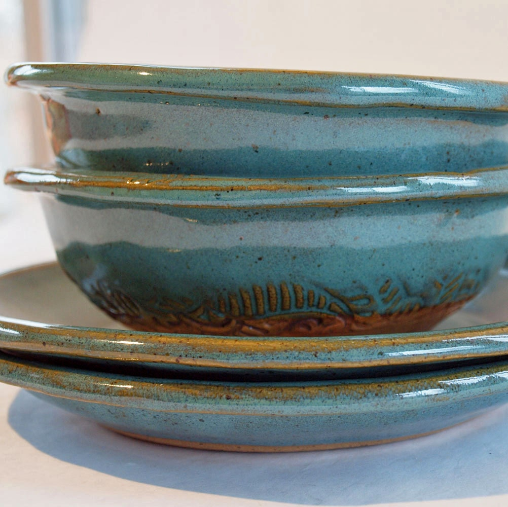 Pottery Plates Bowls Handmade Stoneware Set
