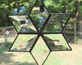 Stained Glass Suncatcher, Beveled 6 Point Star