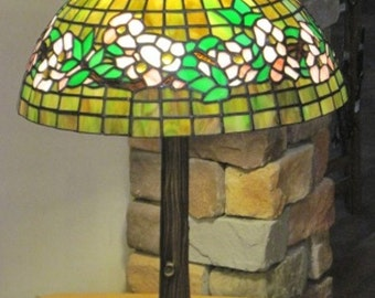 """Handmade Stained Glass Lamp - Reproduction Tiffany Design, 16"""" Belted Dogwood in Pink (Clearance)"""
