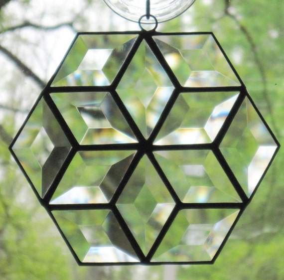Stained Glass Suncatcher, Beveled Hexagon Star