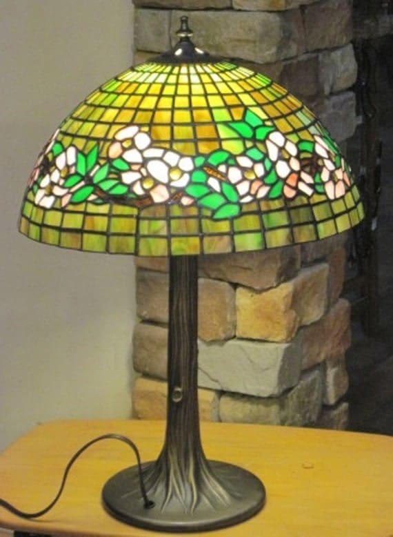 "Handmade Stained Glass Lamp - Reproduction Tiffany Design, 16"" Belted Dogwood in Pink (Clearance)"