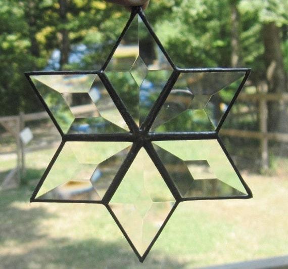 Stained Glass Suncatcher, Beveled 6 Point Star