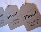 customized brown paper merci favor tags