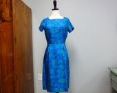 Vintage 1960s Wiggle Dress Cay Artley, Sapphire Blue, Turquoise Silk Floral Print