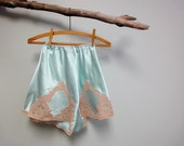Antique 1930s Lace Bra, Tap Pant Set, Silk Satin, Knickers, Sky Blue, Rose Beige Lace, Bias Cut, Beautiful
