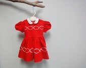 Vintage Toddler Dress Candy Apple Red Tie Back Little Girl