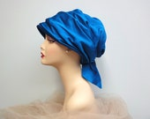 Vintage 60s Dramatic Turban Hat, Peacock Teal, Frank Olive NY