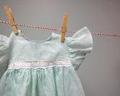 Vintage 1950s Little Baby Girls Dress, Sea-foam Green, Cotton Organdy - StelmaDesigns