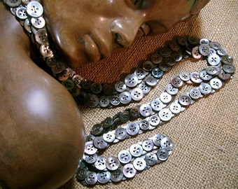 Dark Silver Mermaid Button Necklace of Deep Grey Vintage Mother of Pearl Abalone Buttons