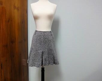 Vintage Mini Skirt Pleated Back, White Herringbone 1970s College Town