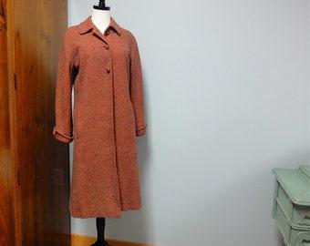 1940s Tweed Coat Vera Maxwell Original Wool , Orange Spice