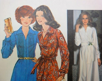Vintage 1977 Simplicity 8249 Sewing Pattern, Maxi Dress, Short Dress Miss Size 14