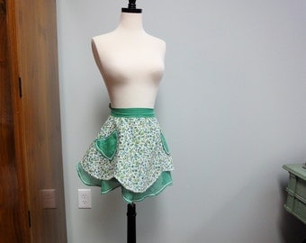 Sweet 1950's Apron, Irish Green Organdy and Floral With Heart Pockets
