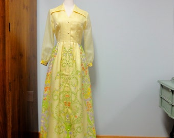 Alfred Shaheen Maxi Dress Vintage 1970's Hawaiian Dress Pale lemon Yellow  Vine and Bird Print