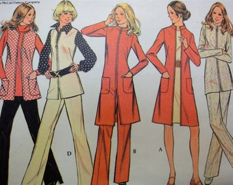 Vintage 1972 McCalls Sewing Pattern 3323 Slim Nehru Collar Coat, Pants, Vest, Tunic MIsses 10, Bust 32 1/2