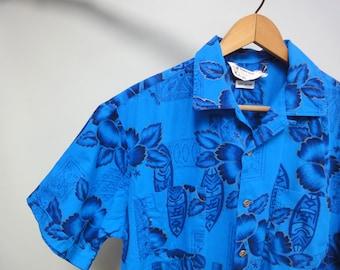 Vintage 50s 60s Penneys Towncraft Hawaiian Shirt, Royal Blue