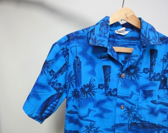 Vintage 50s Made in Hawaii Hawaiian Shirt, Royal Blue, Aloha Tower, Tikis, Hula Dancers
