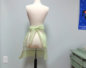 Vintage Sheer Cotton Organdy Apron, Celery Green and Zig Zag Trim 1950s 1960s