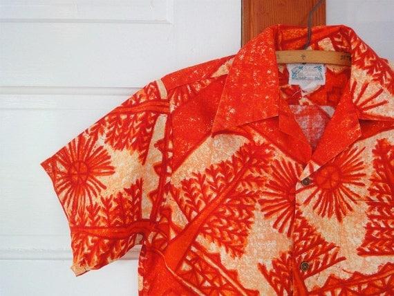 Vintage 60s ISLAND CASUALS Hawaiian Shirt , Tapa Bark Cloth Made in Hawaii in Hot Pele Orange Mens Small