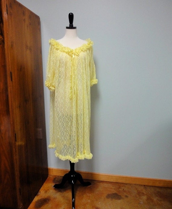 Vintage Lemon Lace Negligee, Sheer Long Nightgown 1960's Med Large