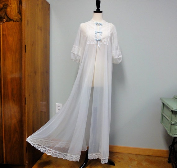 Lovely Long Gilead Robe Double Chiffon White Peignoir, Crystal Pleating, Baby Blue Ribbon Trim