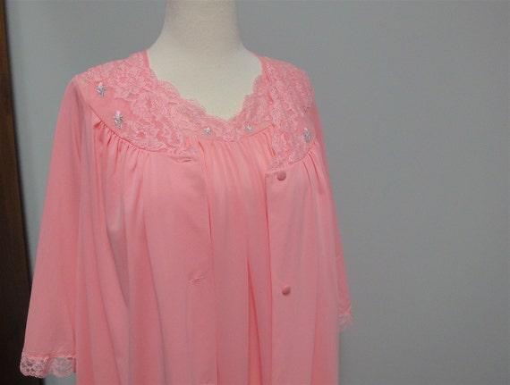 Vintage ShadowLine Peignoir Set, Robe, Nightgown, Pink Flamingo Nylon, Lace Medium