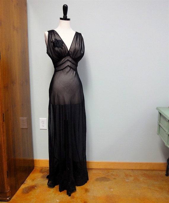 1930s See Through Sheer Nightgown Black Bias Cut By
